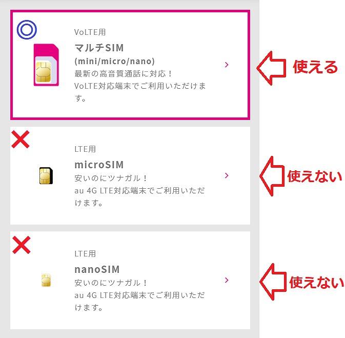 UQモバイル iPhoneで使えるSIM